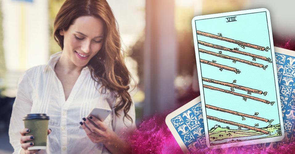 The Eight of Wands Tarot Card